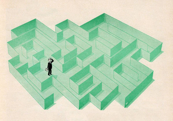 Wall Art - Digital Art - Businessman Trapped In Maze by Graphicaartis