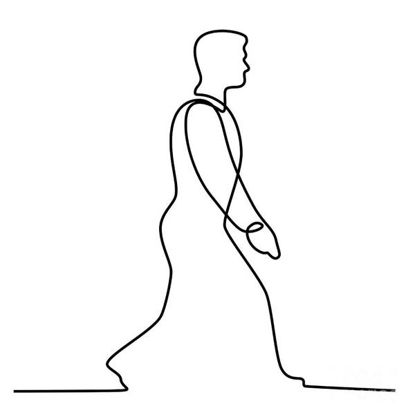 Wall Art - Digital Art - Businessman Walking Continuous Line by Aloysius Patrimonio