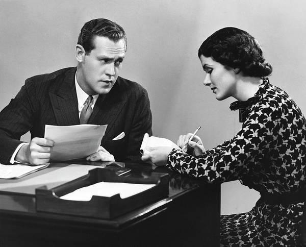 Secretary Photograph - Businessman With Secretary by George Marks