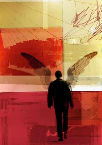 Digital Illustration Digital Art - Businessman With Wings Walking In Urban by Emma Griffin