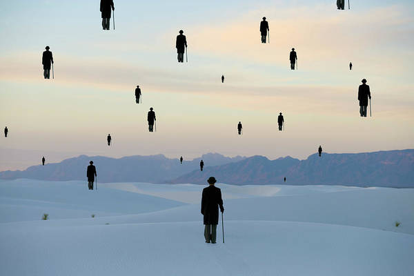 Out Of Context Photograph - Businessmen In Desert, Rear View by Marc Romanelli