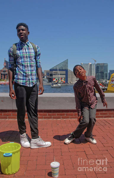 Photograph - 2 Bros. Busking On Baltimore's Inner Harbor 3 by Walter Neal