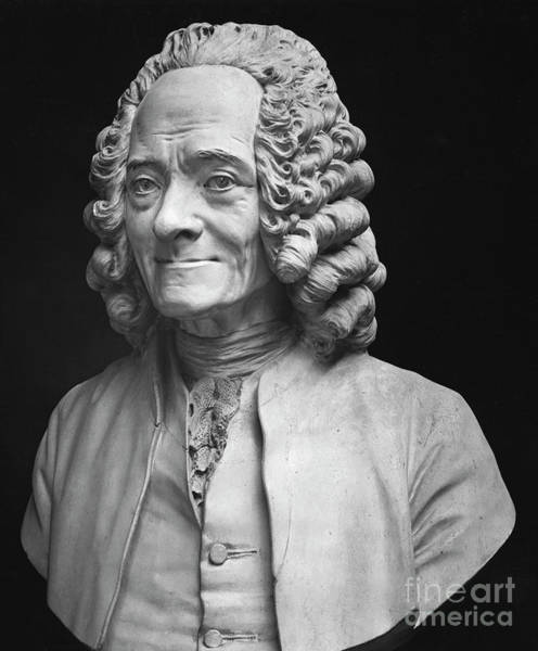Wall Art - Sculpture - Bust Of Voltaire, Marble By Houdon by Jean-Antoine Houdon