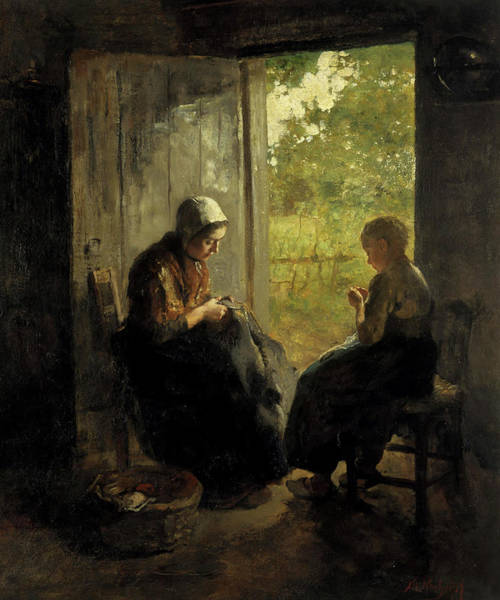 Mending Painting - Busy, 1892 by Albert Neuhuys