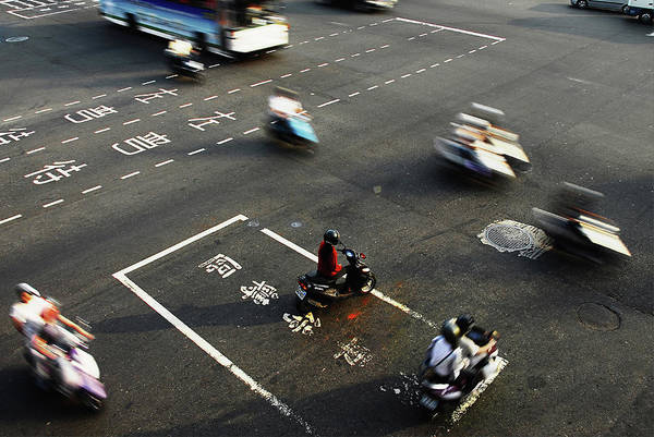 Crash Helmet Photograph - Busy Intersection, Taichung City by Jackson-moss Photography