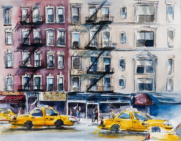 Wall Art - Digital Art - Busy New York Street. Watercolor Sketch by Kamieshkova