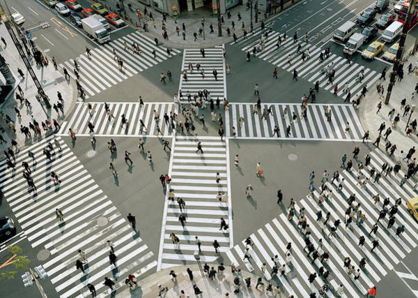 Ginza Wall Art - Photograph - Busy Pedestrian Crossing In Tokyo, Japan by Duncan Mckenzie