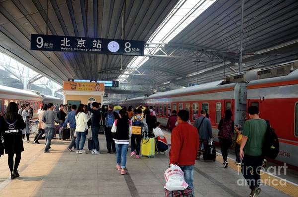 Photograph - Busy Platform With Passengers Exiting Trains And Greeting At Beijing Railway Station China by Imran Ahmed