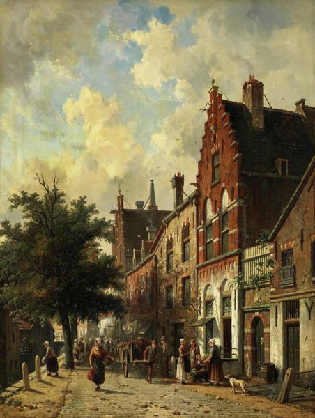 City Scene Painting - Busy Street Scene, Delft by Adrianus Eversen