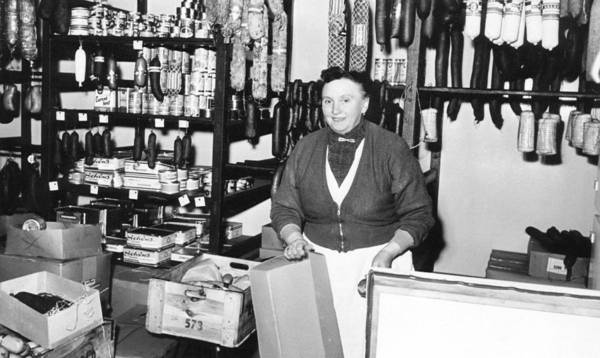 Wall Art - Photograph - Butchery Saleswoman Stands Behind Shop Counter 1960s Germany by imageBROKER - our-planetberlin