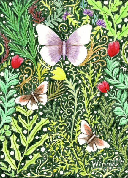 Painting - Butterflies In The Millefleurs by Lise Winne