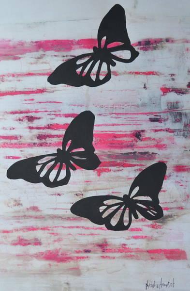 Avondet Wall Art - Mixed Media - Butterflies On Pink by Natalie Avondet