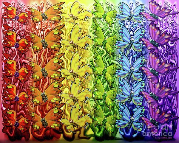 Digital Art - Butterflies Rainbow by Kevin Middleton