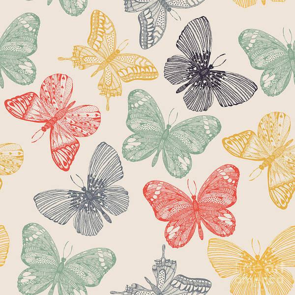Wall Art - Digital Art - Butterflies Seamless Pattern In Doodle by Tatsiana Tsyhanova