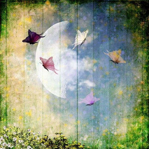 Wall Art - Painting - Butterfly And Moon by ArtMarketJapan