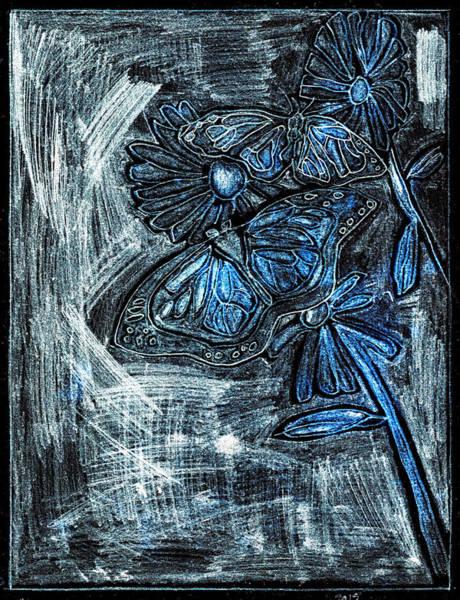Digital Art - Butterfly Blue Garden At Night 26 by Artist Dot