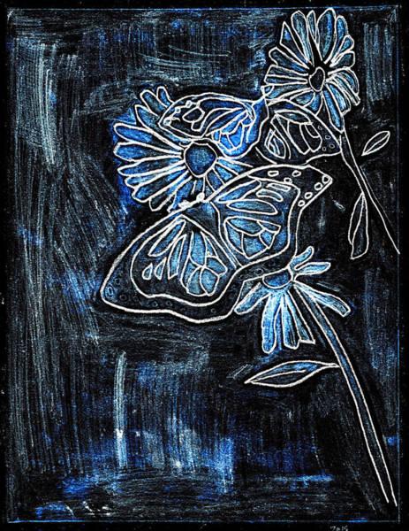 Digital Art - Butterfly Blue Garden At Night 27 by Artist Dot