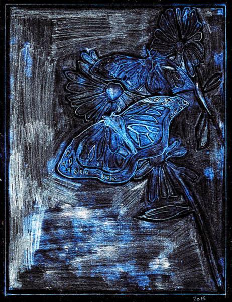 Digital Art - Butterfly Blue Garden At Night 29 by Artist Dot