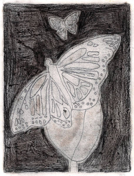 Drawing - Butterfly Garden At Night 18 by Artist Dot