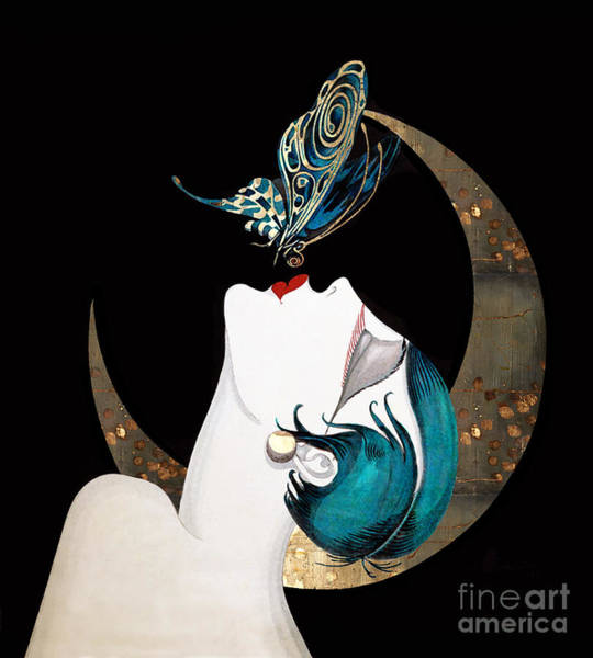 Wall Art - Painting - Butterfly Kiss French Art Deco Woman Remix by Tina Lavoie