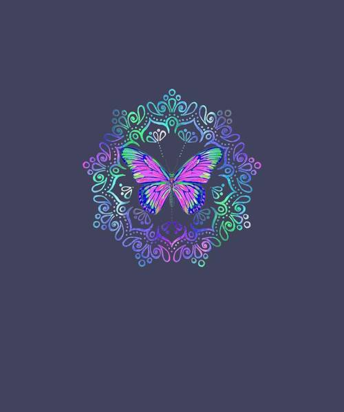 Wall Art - Digital Art - Butterfly Magic Circle T-shirt by Unique Tees
