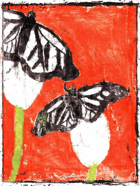 Painting - Butterfly Red Garden Summer 10 by Artist Dot
