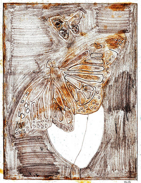Drawing - Butterfly Scratch Sketch 2 by Artist Dot