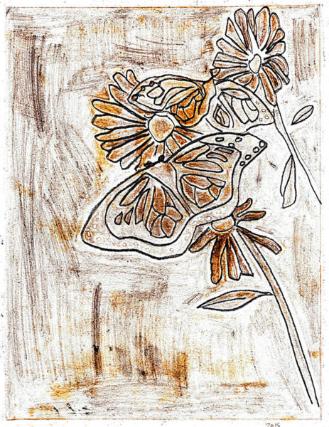 Drawing - Butterfly Scratch Sketch 4 by Artist Dot