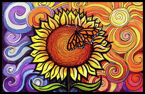 Painting - Butterfly Sunflower by David Sockrider