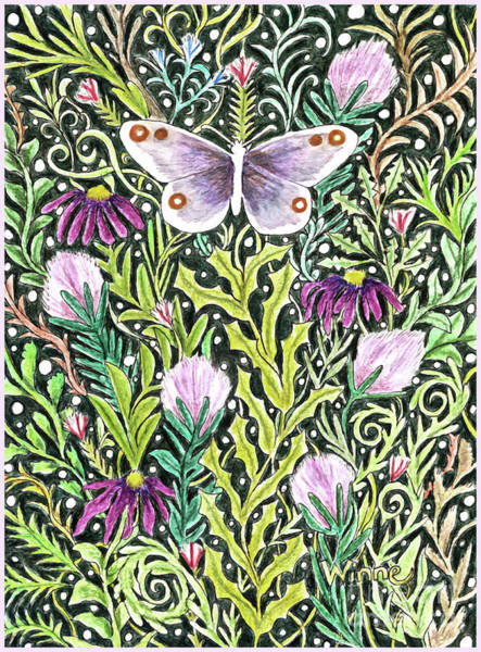 Mixed Media - Butterfly Tapestry Design by Lise Winne