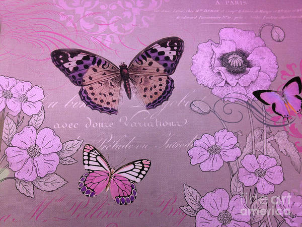 Wall Art - Digital Art - Butterly Purple Pink Butterflies Graphic Typography Floral Butterflies  by Kathy Fornal