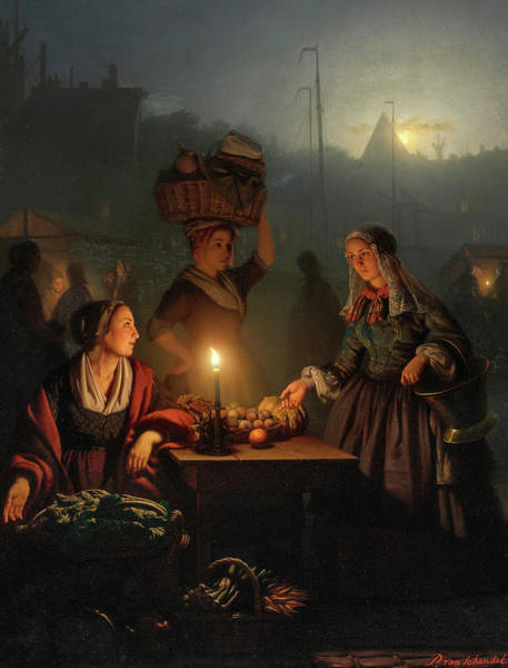 Wall Art - Painting - Buying Fruit And Vegetables At The Night Market by Petrus van Schendel