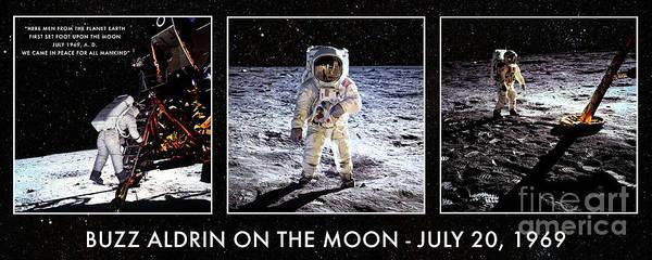 Photograph - Buzz Aldrin On The Moon by Anita Pollak