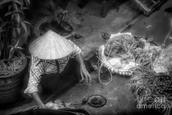 Wall Art - Photograph - Bw Flare Vietnamese Woman Vegetables  by Chuck Kuhn
