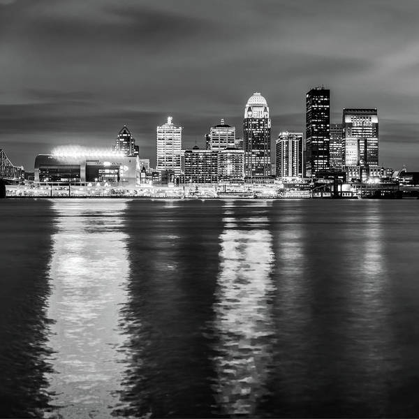 Photograph - Bw Louisville Skyline Over The Ohio River - Square Format by Gregory Ballos