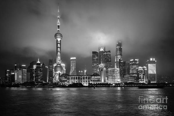 Photograph - Bw Skyline In Shanghai by Steven Liveoak