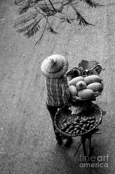 Wall Art - Photograph - Bw Streets Vietnamese Woman Bicycle  by Chuck Kuhn