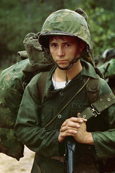 Painting - By An Unknown Photographer, August 3, 1965  Da Nang, Vietnam...a Young Marine Private Waits On The B by Celestial Images