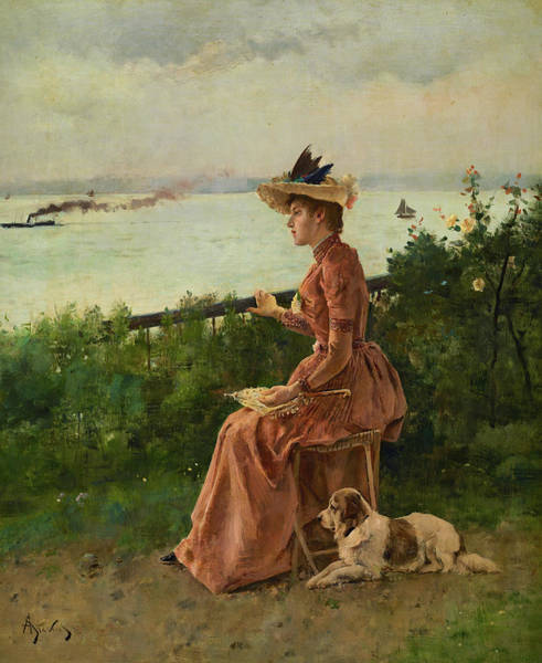 Steven Painting - By The Sea, 1890 by Alfred Stevens