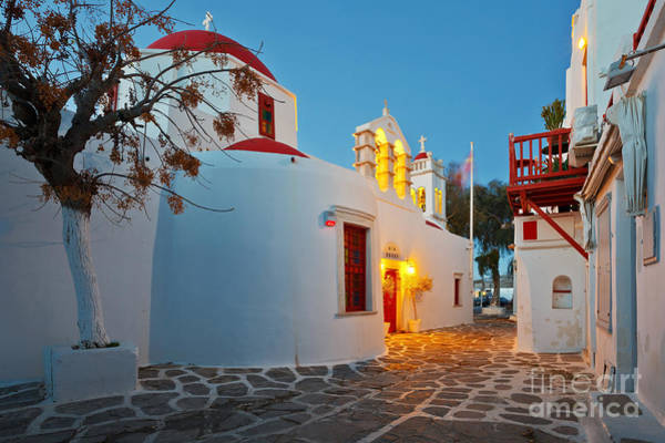Byzantine Church In A Street Of Mykonos Art Print