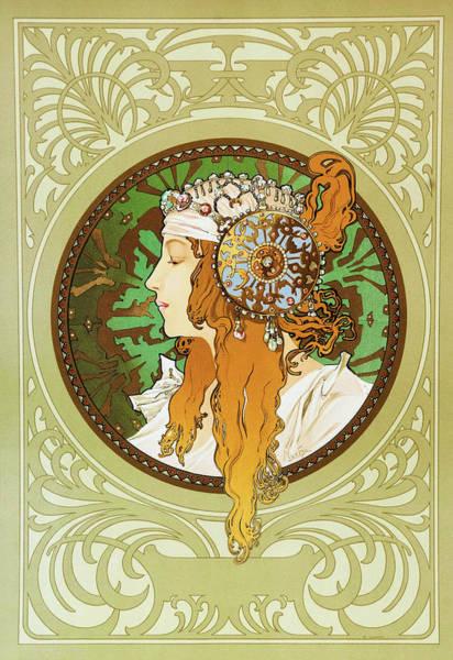 Wall Art - Painting - Byzantine Empire Tiara, Blonde - Digital Remastered Edition by Alfons Maria Mucha
