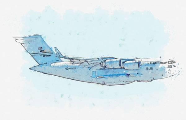 Painting - C-17 Profile Watercolor By Ahmet Asar by Ahmet Asar