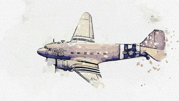 Painting - C-47 Skytrain 2 Watercolor By Ahmet Asar by Ahmet Asar