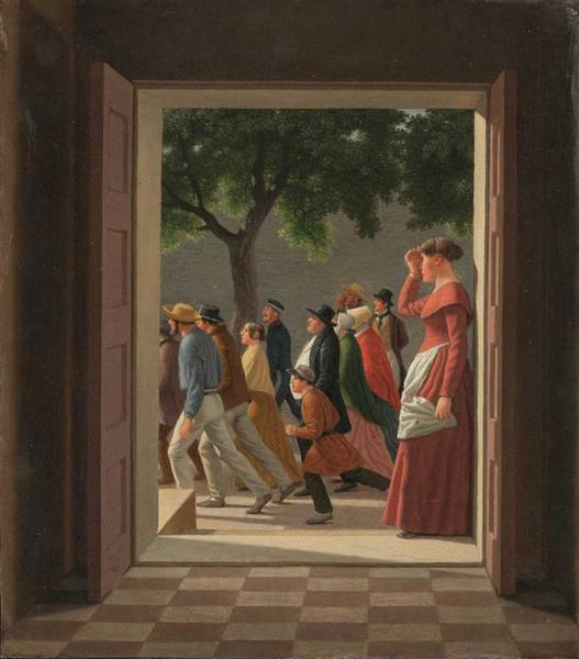 Wall Art - Painting - C. W. Eckersberg, View Through A Door To Running Figures, 1845 by Celestial Images