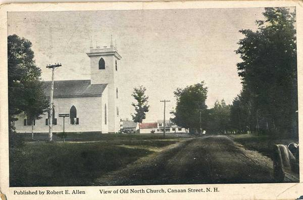 Wall Art - Painting - c1910 View of Old North Church, Canaan St. Canaan N. H. Robert E. Allen Postcard by Celestial Images