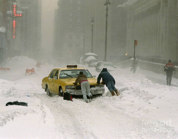 Wall Art - Photograph - Cab Driver Pushes His Taxi Cab After by New York Daily News Archive