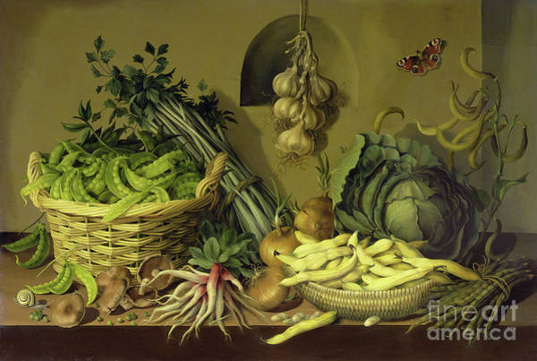 Wall Art - Painting - Cabbage, Peas And Beans by Amelia Kleiser