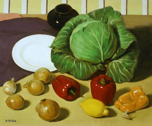 Cabbage White Painting - Cabbage Stew by Robert Holden