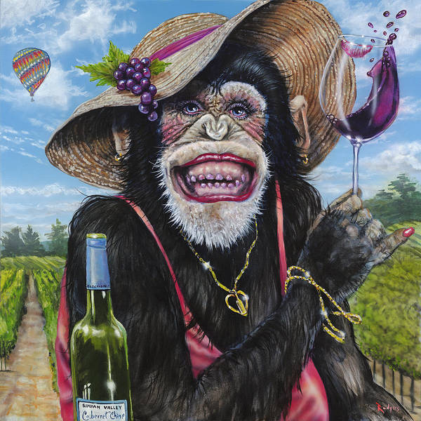 Wall Art - Painting - Cabernet Chimp by Lance Rodgers