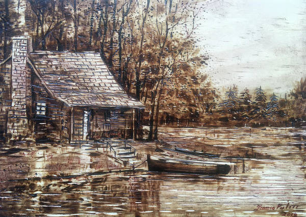 Pyrography Wall Art - Pyrography - Cabin By The Lake by Franco Puliti